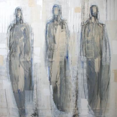 Barbara Houwers | Past, present and future | 170-170 cm | Acryl-cotton-aluminium frame.