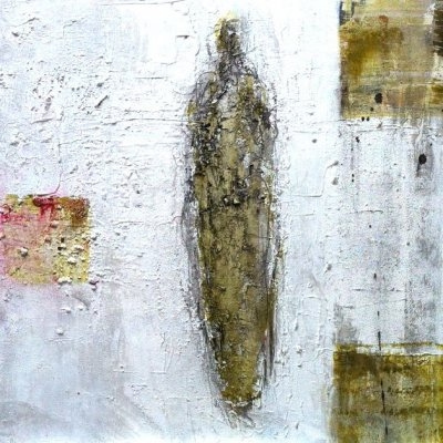 Gestalte in wit | 40-40 cm | mixed media on linen | Barbara Houwers