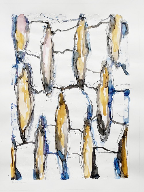 Flow 2 | Acryl and watercolour on white paper | Paper size: 60-50 cm | Image: 54-38 cm.