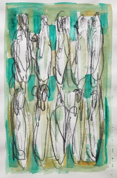 Greener-3 | Acryl and charcoal on paper |  Papetr size 30-40 cm | Alu frame | Barbara Houwers 2020.