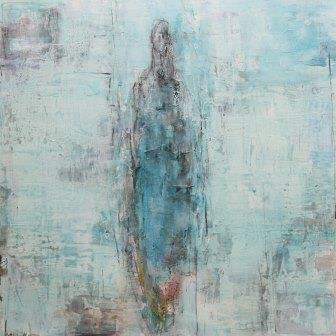 140-140 cm | Serenity series/Aqua Blue | Acrylics on linen and aluminium frame | Barbara Houwers 2017