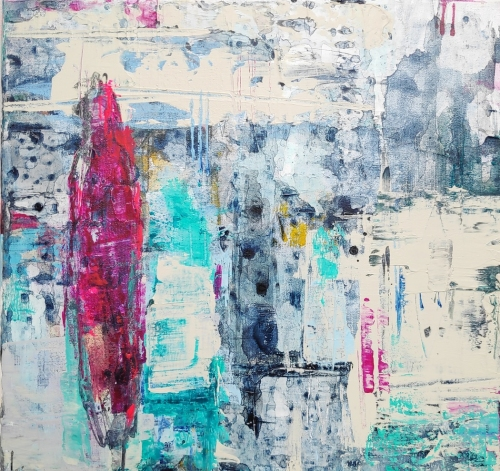 Couleurs du Nord 2 | 30-30-cm | Acrylics on canvas | Barbara Houwers-2020