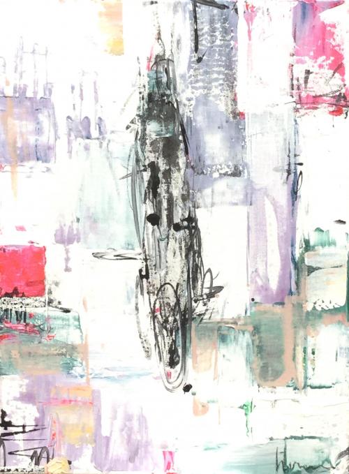 De mens en de Ruimte | 30-40-cm | Acrylics-on-canvas | Barbara-Houwers 2021