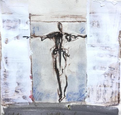 WOP 1  | Mixed media on paper | 20-20 cm | Barbara Houwers 2021