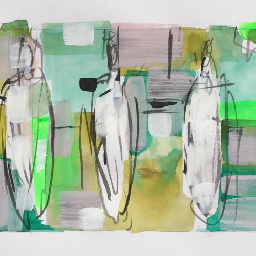 WOP 13. Mixed media op papier. 12-30 cm. Barbara Houwers