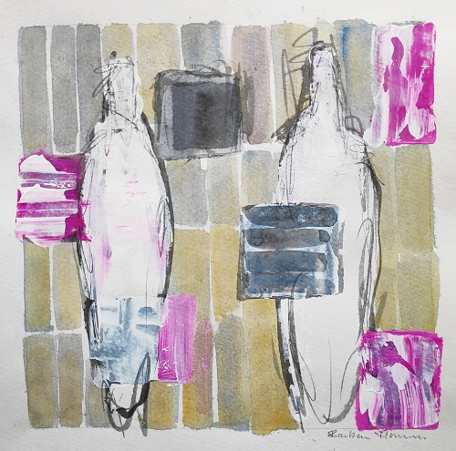 WOP 2. | Mixed media on paper | app 21 - 21 cm | Barbara Houwers 2021