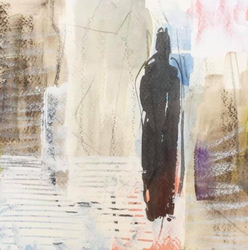 WOP 6 | Mixed media on paper | 20-20 cm | Barbara Houwers 2021